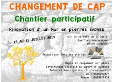Juillet 2019 - Chantier participatif de rénovation d'un mur en pierres sèches